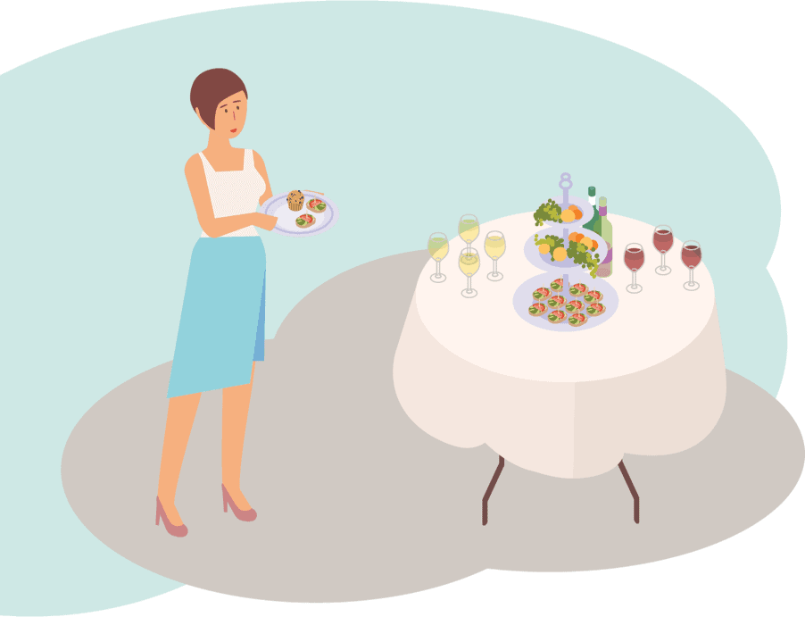 Eine Frau vor einem Buffet.