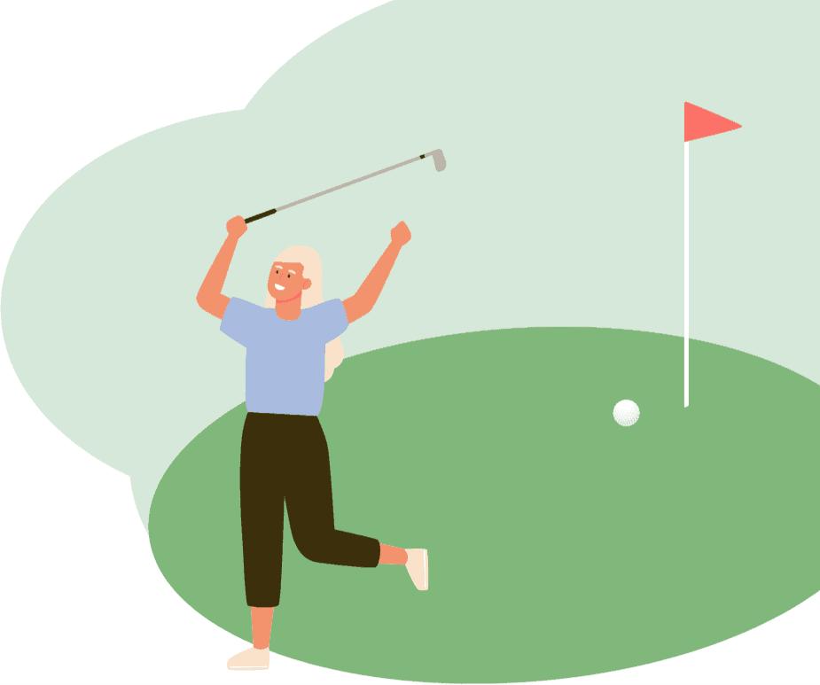 Eine Frau, die Golf spielt.